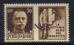"""W2919 - RSI , Propaganda Di Guerra  """" La Vittoria Sarà Del Tripartito """"  : Il 30 Cent Bruno ***  MNH . GNR - 4. 1944-45 Repubblica Sociale"""