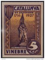 VINEBRE - RAFEL DE CASANOVA - VIOELETA Y CASTAÑO  - MUY RARO - Vignette Della Guerra Civile