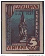 VINEBRE - RAFEL DE CASANOVA - AZUL Y CASTAÑO  - MUY RARO - Vignette Della Guerra Civile