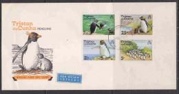 """Tristan Da Cunha 1974 Penguins 4v FDC (backside Label """"Sabena"""") (F3683) - Tristan Da Cunha"""