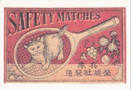 CP Etiquette Boîte D´allumettes Japonaise Début Du Siècle - Chat Sur Raquette De Tennis - Advertising