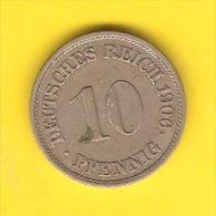 GERMANY   10 PFENNIG  1906 J  (KM # 12) - [ 2] 1871-1918 : German Empire