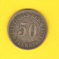GERMANY   50 PFENNIG  (SILVER)  1876  (KM # 6) - [ 2] 1871-1918 : Empire Allemand