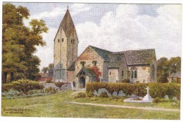 Sompting Church, Nr Worthing By A R Quinton Colour Postcard - Salmon No 1894 (early - No Leaping Salmon) - Quinton, AR
