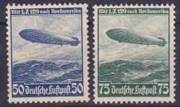 DR Fahrten Des Luftschiffes Hindenburg L.Z. 129 Nach Nordamerika Mi. 606-607 * Ohne Gummi Wie Empfohlen, Zeppelin - Allemagne