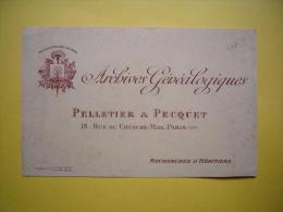 Buvard Publicitaire Illustré Archives Généalogiques Pelletier & Pecquet Paris VI ème Années 1930 ? Littré 52-24 - Blotters