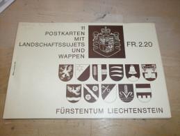 LIECHTENSTEIN Ganzsachen Postal Buch Heft Mit 11 Postcard /Orte Zeichnungen Wappen Je 20 Rappen (3 Foto)(70458) GGG - Stamped Stationery