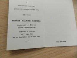 Doodsprentje Petrus Maurice Goeters Lokeren 11/6/1891 - 29/5/1980 ( Leonie Verstraeten ) - Religion & Esotérisme