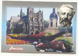"""Rare Carte Postale Jules Verne """"La Cathedrale Et Le Beffroi D'Amiens"""" - Escritores"""