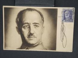 """ESPAGNE-Carte Postale Avec Très Rare Griffe """"Taxe Perçue"""" +censure Pour La France   à Voir P6791 - Marcas De Censura Nacional"""