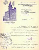 DOC #3 LETTRE INVITATION INAUGURATION MONUMENT SURCOUF BATIMENT FNFL FFL MARINE FRANCE LIBRE 1951 - Historical Documents