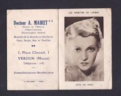 Calendrier De Poche - 1937 - Vedettes De L'écran Kate De Nagy - Publicité Docteur Mairet 1 Place Chevert Verdun - Kalenders