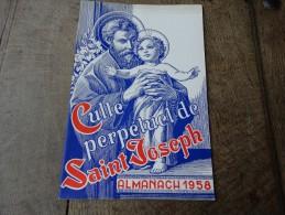 De 1958-Almanach Du Culte Perpétuel De Saint Joseph - Livres, BD, Revues
