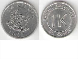 Congo Dem. Rep. 1 Likuta 1967 Km 8  Unc !!!! - Congo (Democratic Republic 1964-70)