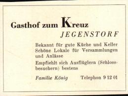 Original Werbung - 1947 - Gasthof Zum Kreuz In Jegenstorf , Restaurant , Hotel , Fam. König , Schloss !!! - Publicités