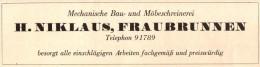 Original Werbung - 1947 - H. Niklas In Fraubrunnen , Schreinerei , Tischlerei !!! - Publicités