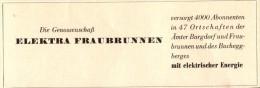 Original Werbung - 1947 - ELEKTRA - Genossenschaft In Fraubrunnen , Elektrik , Bucheggberg !!! - Publicités