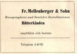 Original Werbung - 1947 - Fr. Mellenberger & Sohn In Bätterkinden , Spenglerei !!! - Publicités