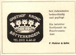 Original Werbung - 1947 - Gasthof Krone In Bätterkinden , F. Hubler & Sohn , Hotel !!! - Publicités