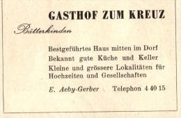 Original Werbung - 1947 - Gasthof Zum Kreuz In Bätterkinden , E. Aeby-Gerber , Hotel !!! - Publicités