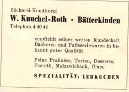 Original Werbung - 1947 - W. Knuchel-Roth In Bätterkinden , Bäckerei , Konditorei , Lebkuchen !!! - Publicités