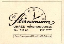 Original Werbung - 1947 - H. Stirnemann In Münchenbuchsee , Uhren , Uhrmacher !!! - Publicités