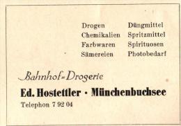 Original Werbung - 1947 - Ed. Hostettler In Münchenbuchsee , Bahnhof  - Drogerie !!! - Publicités