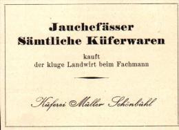 Original Werbung - 1947 - Jauchefässer , Küferei Müller In Schönbühl - Bern , Landwirtschaft !!! - Publicités