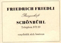 Original Werbung - 1947 - Friedrich Friedli In Schönbühl - Bern , Baugeschäft !!! - Publicités
