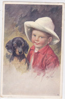 CARD CANE BASSOTTO BASSET SAUGE DOG BIMBO FIRMA A.K.  -FP-V-2-    0882--23784 - Chiens
