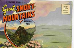 U S A-GREAT SMOKY  MOUNTAINS-carte Postale-  Dépliant 18 Vues -dont Femme Indienne Cherokee-anbnées 20-30 - Etats-Unis
