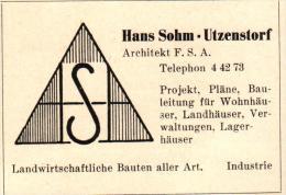 Original Werbung - 1947 - Hans Sohn In Utzenstorf , Architekt , Architektur !!! - Publicités