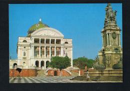 BRESIL - BRASIL - MANAUS -Teatro Amazonas E Monumento à Albertura Dos Portos  - SCANS  RECTO VERSO - Manaus
