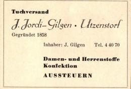 Original Werbung - 1947 - J. Jordi-Gilgen In Utzenstorf , Damen- Und Herrenkonfektion !!! - Publicités