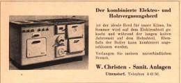Original Werbung - 1947 - W. Christen In Utzenstorf , Holzvergasungsherd !!! - Publicités