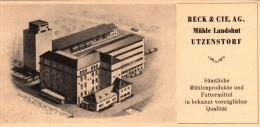 Original Werbung - 1947 - Beck & Cie , Mühle Landshut In Utzensdorf !!! - Publicités