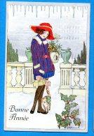 Madd019, Bonne Année, Femme Avec Un Chapeau, Cadeaux, Chat, Cat, Katze, Illustrateur E. Kaltenmark, Circulée 1930 - New Year
