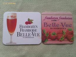 Lote 2 Posavasos Cerveza Belle-Vue. Bélgica. Frambuesa - Portavasos