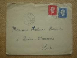 Enveloppe De Mirepoix Ariège Pour Rieuse-Minervois Aude Affranchissement Composé Marianne De Dulac - Marcophilie (Lettres)