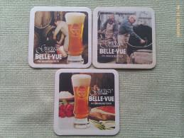 Lote 3 Posavasos Cerveza Gueuze Lambic Belle-Vue. Bélgica. Años ´80 - Sous-bocks