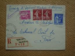 Enveloppe Recommandée De Tarascon Sur Ariège Pour Foix Affranchissement Composé Oblitération Cachet Horoplan - Marcophilie (Lettres)