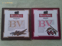 Lote 2 Posavasos Cerveza Belle-Vue. Bélgica. Gueuze, Kriek - Portavasos