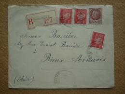 Enveloppe Recommandée De Mirepoix Ariège Pour Rieux-Minervois Aude Affranchissement Pétain Oblitération Cachet Horoplan - Marcophilie (Lettres)
