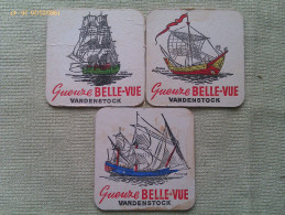 Lote 3 Posavasos Marina Histórica Cerveza Gueuze Belle-Vue. Bélgica. Años ´70. Barcos Endeavour De Cook - Portavasos
