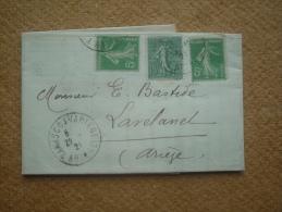 Lettre De Tarascon Sur Ariège Pour Lavelanet Affranchissement Composé Type Semeuse - Marcophilie (Lettres)