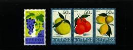 CYPRUS - 1974  FRUITS  SET  MINT NH - Chypre (République)