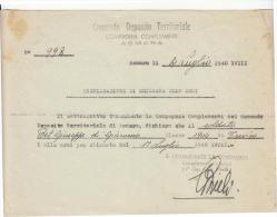 DE622-1940 ASMARA-Compagnia ASCARI COMANDO DEPOSITO TERRITORIALI COMPAGNIA COMPLEMENTI-Dichiarazione CHIAMATA ARMI - Dokumente