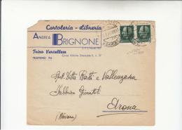 DE625-R.S.I.1944 TRINO VERCELLESE Busta Pubblicitaria CARTOLERIA-LIBRERIA ANDREA BRIGNONE-c.25x2 FASCETTO NERO - 4. 1944-45 Sozialrepublik