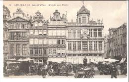 Bruxelles-1908-Grand´ Place-Marché Aux Fleurs-à Gauche: Brasserie Du Sac-à Droite La Brouette Et Le Roy D´Espagne-animée - Plätze
