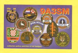 Postcard - QSL Postcard, Police Patches & Hat Badges, Croatia     (19938) - Radio Amateur